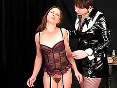 Sensual domination of a girl in lingerie