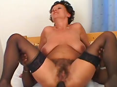 Anal interracial with hairy mature brunette