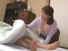 Mom and Boy, 69, Asian, BBW, Bed, Blowjob
