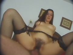 Milf in fishnets fucked in hairy box