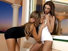hot video of two gorgeous babes having lesbian