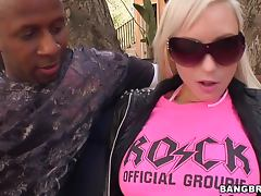 Giselle Monet blowjobs a big black cock and takes it deep into herself