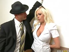 Hard Cock Fucks Big Breasted Blodne Britney Amber in the Office tube porn video