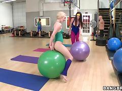 Yoga Lesbian Threesome
