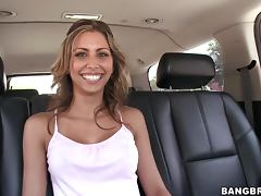 Cuban babe Carina blowjobs and gets hotly fucked in doggystyle tube porn video