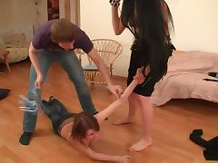 Teen Gets Humiliated in FFM Threesome