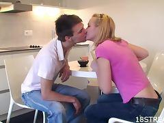Blonde Pussy Licking Addict Alisa and Eugen Kitchen Teen