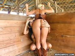 Barn Yard Threesome With Bootylicious Country Cuties