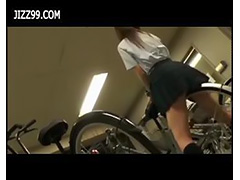 schoolgirl fucked by geek on her bicycle
