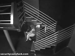 Horny Couple Getting Caught On Camera Fucking On A Stair Case