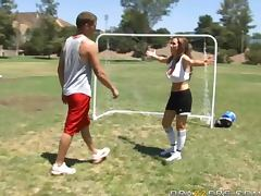 Smoking hot Nikki Benz loses the soccer game but wins tube porn video