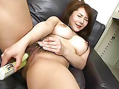 Insatiable Asian Babe Mei Sawai Fucks Her Hairy Pussy With a Big Dildo
