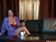 Mom, Big Tits, Blowjob, Bra, Brunette, Cougar