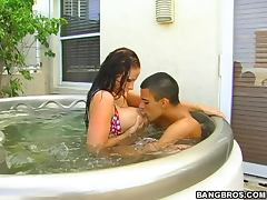 Hot Sex Outdoors in Jacuzzi with Busty Redhead Gianna Michaels