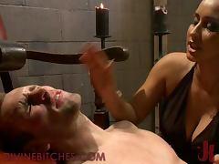 Busty Brunette Dominatrix Fucks Male Slave With Strapon