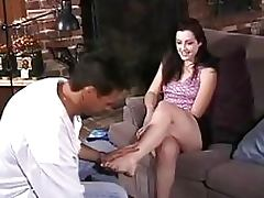 Gorgeous Brunette Kristina Black Gives Magnificent Footjob and Blowjob