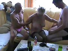 Blonde Mature Sucks Cock and Gets Banged Amateur Bisexual Threesome tube porn video