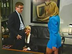 Vicious Blonde Office Sluts Suck and Fuck Their Boss' Cock In a 3some porn tube video