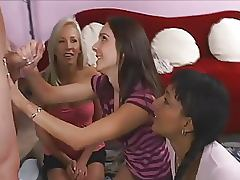 CFNM with Three Lovely Gals Giving Handjob