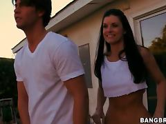 India Summer Sucks the Pool Guy's Cock Outdoors