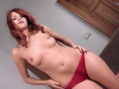 Dreamy Redhead Playing With Her Natural Tits and Lovely Pussy