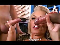 Busty Blonde Granny Gets Fucked and Facialized in Hardcore Threesome