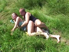 Grassy field fuck with teen