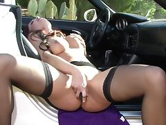 Smoking Hot Redhead Wears Hot Lingerie As She Masturbates With A Dildo