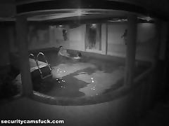 Pool Fucking Caught By A Security Camera