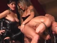 Hot Dominatrices Drilling Santa's Ass With Huge Strapons In Femdom porn tube video