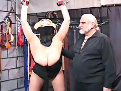 Big breasted blonde vixen fucks in the dugeon