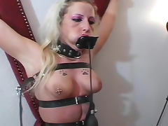 Blonde chained in his dungeon