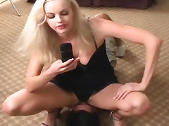 Blonde in black panties sits on his face tube porn video