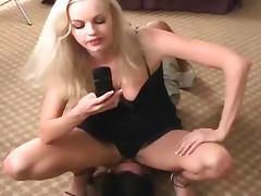 Blonde in black panties sits on his face tube porn video