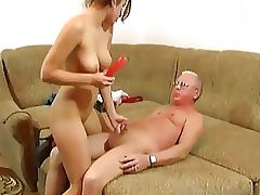 Horny Brunette Gets Fucked By An Old Man And A Sex Toy As Well