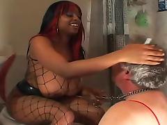 Black dominatrix pisses in his mouth