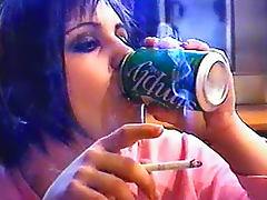 Smoking girl with pierced