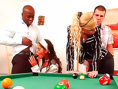 CFNM orgy on a pool table