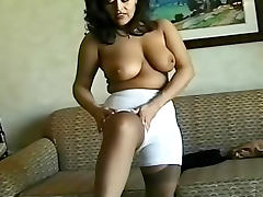 Gal in a girdle models her body