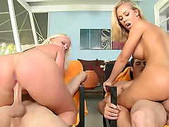 Blondes tease asses and get banged