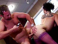 Purple stockings on horny milf cocksucker