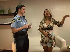 Cop, Brunette, Cop, Facial, Handjob, Lick