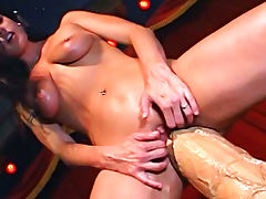 Biggest dildo ever pounds her pussy