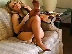 Nylon tease from beauty in lingerie tube porn video