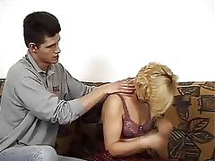 Blonde Granny in Stockings Gets Fucked and Covered