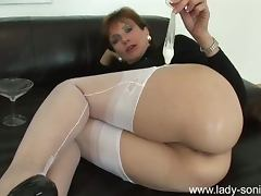 MILF, Brunette, Condom, MILF, Sperm, Stockings