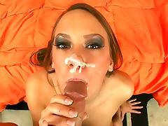 Dick sucking glam slut gets a facial