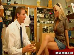 Blonde Milf Rides A Shoe Store Employee's Hard Cock