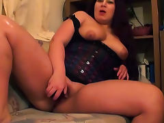 Lovely girl in corset solo