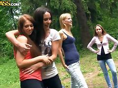 Teens fool around outdoors
